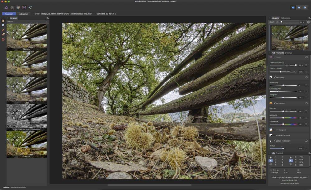 HDR-Bearbeitung mit Bildbearbeitungssoftware Affinity Photo Version 1.5