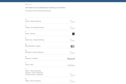 Screenshot der Webseite der net se - Marken des Unternehmens