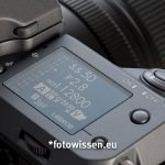Schulterdisplay Fujifilm GFX 100 - Belichtungsdaten und Einstellungen
