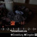 Sony RX100VA - Screenshot vom Sucher - Belichtungskorrektur +-3EV