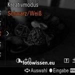 Sony RX100VA - Screenshot vom Sucher - Kreativmodus Schwarz-Weiß