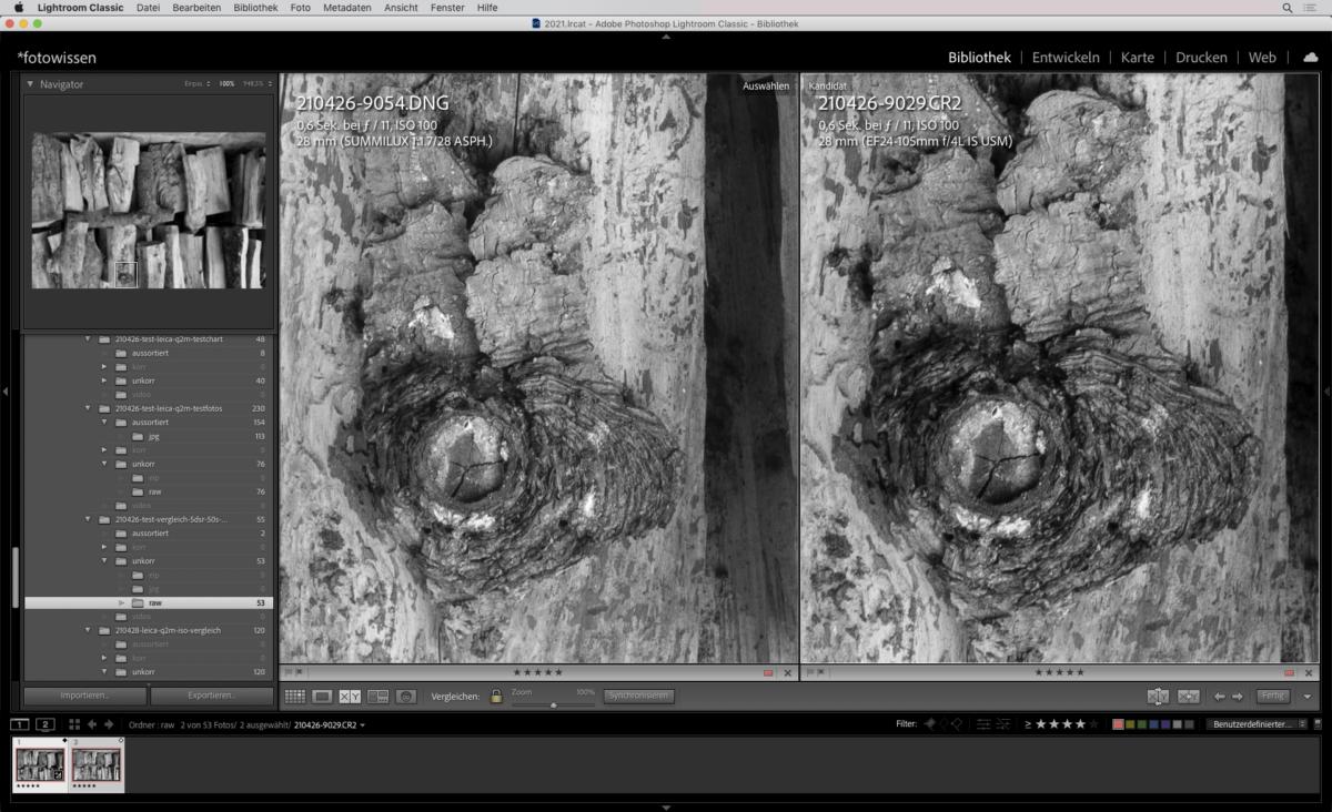 Vergleich Leica Q2 Mono mit Canon 5DsR und 24-105 mm F/4 Mark I