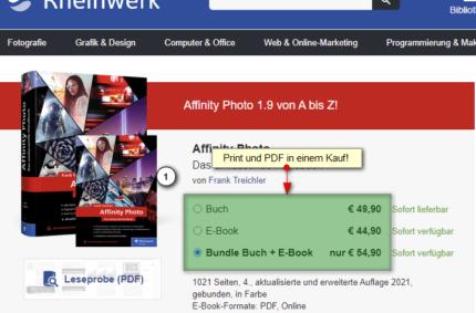 Printausgabe und PDF Buch Affinity Photo im Rheinwerk Verlag
